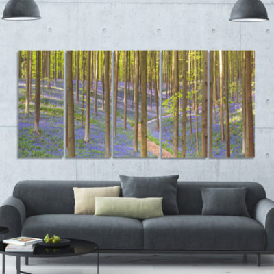 Blooming Bluebell Forest Panorama Landscape CanvasArt Print - 5 Panels
