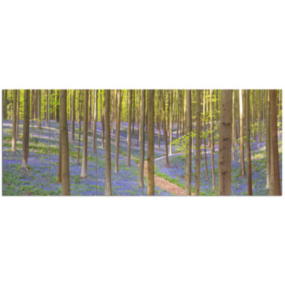 Blooming Bluebell Forest Panorama Landscape CanvasArt Print - 6 Panels