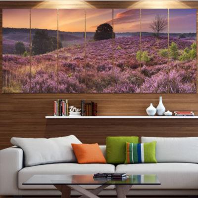 Designart Blooming Heather At Dawn Panorama Landscape Canvas Art Print - 4 Panels