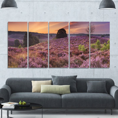 Designart Blooming Heather At Dawn Panorama Landscape Canvas Art Print - 5 Panels