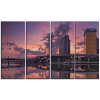 Tokyo Sky Tree And Sumida River Landscape Canvas Art Print - 4 Panels