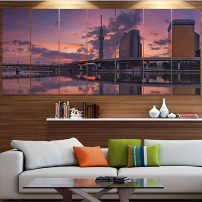 Designart Tokyo Sky Tree And Sumida River Landscape Wrapped Canvas Art Print - 5 Panels