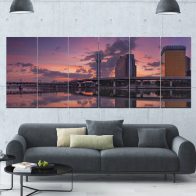 Tokyo Sky Tree And Sumida River Landscape Canvas Art Print - 6 Panels
