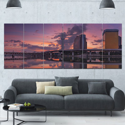 Designart Tokyo Sky Tree And Sumida River Landscape Canvas Art Print - 6 Panels