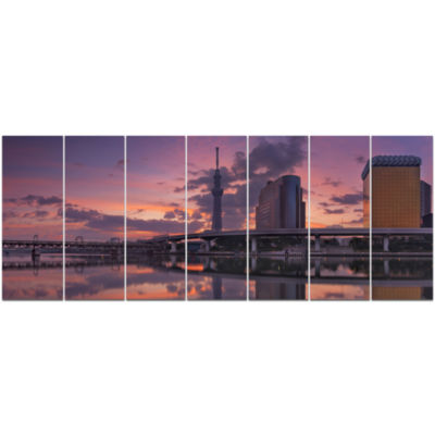 Tokyo Sky Tree And Sumida River Landscape Canvas Art Print - 7 Panels