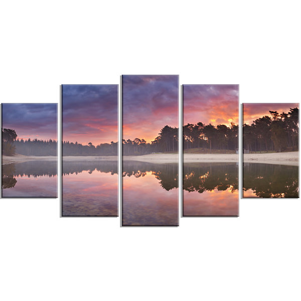 Designart Quiet Lake Mirroring The Sky LandscapeWrapped Canvas Art Print - 5 Panels