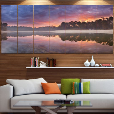 Designart Quiet Lake Mirroring The Sky LandscapeCanvas Art Print - 5 Panels