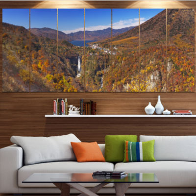 Designart Kegon Falls Near Nikko Panorama Landscape Canvas Art Print - 5 Panels