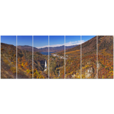 Kegon Falls Near Nikko Panorama Landscape Canvas Art Print - 7 Panels