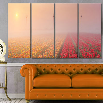 Designart Sun Over Blooming Lake Panorama Landscape Canvas Art Print - 4 Panels