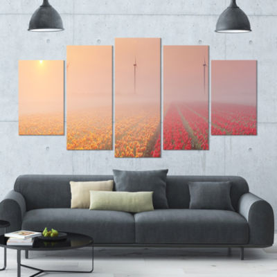 Sun Over Blooming Lake Panorama Landscape WrappedCanvas Art Print - 5 Panels