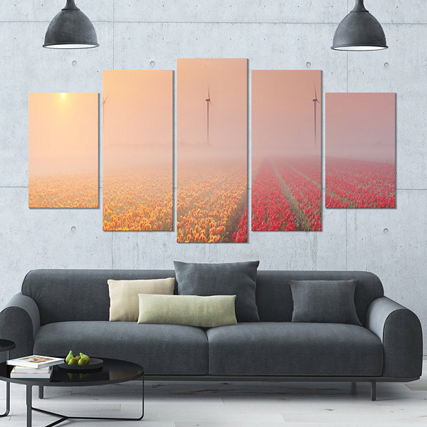 Design Art Sun Over Blooming Lake Panorama Landscape Wrapped Canvas Art Print - 5 Panels