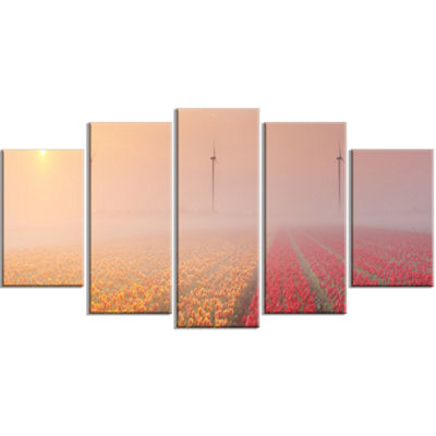 Designart Sun Over Blooming Lake Panorama Landscape Wrapped Canvas Art Print - 5 Panels