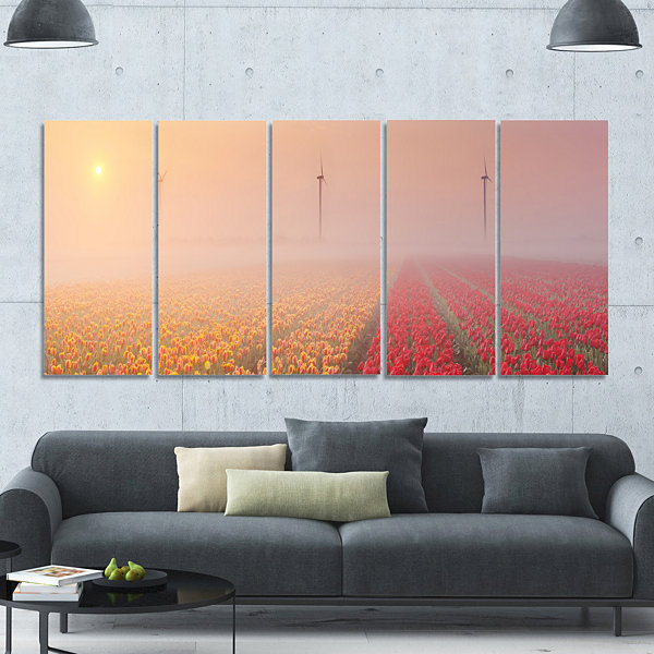 Designart Sun Over Blooming Lake Panorama Landscape Canvas Art Print - 5 Panels