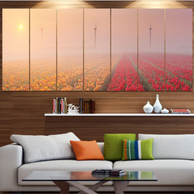 Designart Sun Over Blooming Lake Panorama Landscape Canvas Art Print - 6 Panels