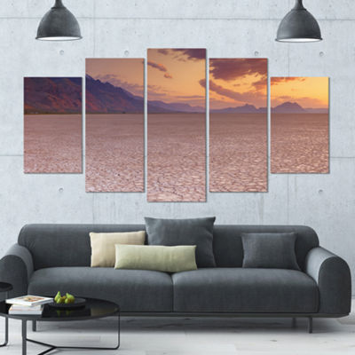 Designart Cracked Earth In Alvord Desert LandscapeWrapped Canvas Art Print - 5 Panels