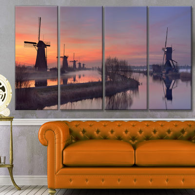 Windmills At Sunrise Panorama Landscape Canvas ArtPrint - 4 Panels