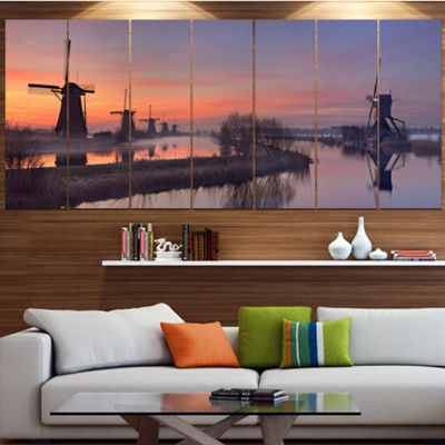 Designart Windmills At Sunrise Panorama LandscapeWrapped Canvas Art Print - 5 Panels