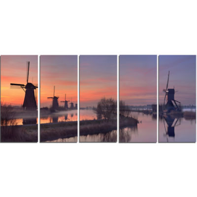 Windmills At Sunrise Panorama Landscape Canvas ArtPrint - 5 Panels