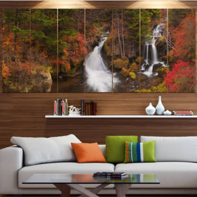 Designart Ryuzu Falls Near Nikko Japan LandscapeWrapped Canvas Art Print - 5 Panels