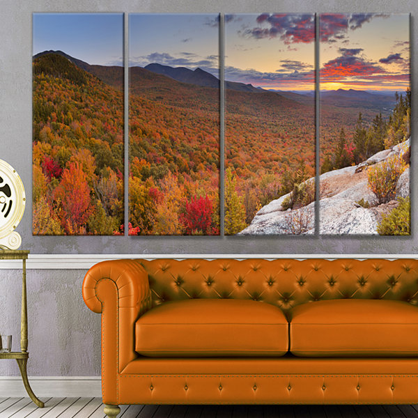 Designart Endless Forests In Fall Panorama Landscape Canvas Art Print - 4 Panels
