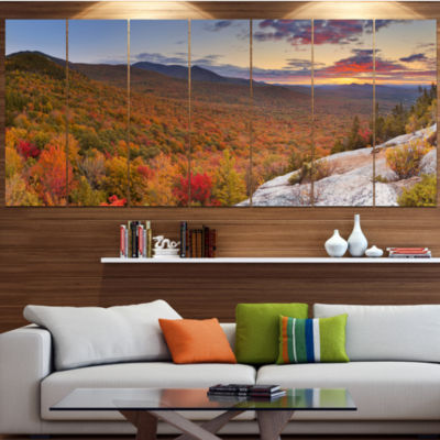Designart Endless Forests In Fall Panorama Landscape Wrapped Canvas Art Print - 5 Panels