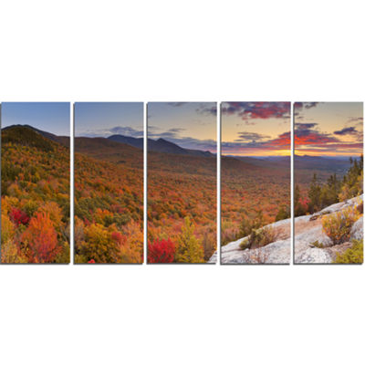 Designart Endless Forests In Fall Panorama Landscape Canvas Art Print - 5 Panels