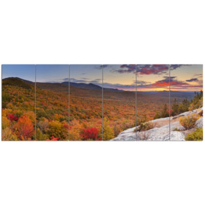 Endless Forests In Fall Panorama Landscape CanvasArt Print - 6 Panels