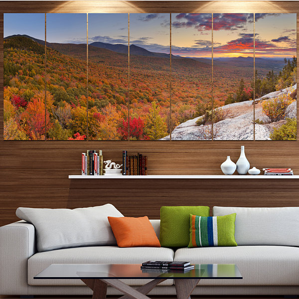 Designart Endless Forests In Fall Panorama Landscape Canvas Art Print - 7 Panels