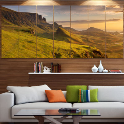 Designart Sunrise At Quiraing Scotland LandscapeWrapped Canvas Art Print - 5 Panels