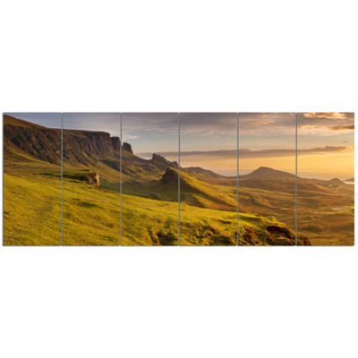 Designart Sunrise At Quiraing Scotland LandscapeCanvas Art Print - 6 Panels