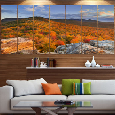 Designart Endless Forests In The Fall Foliage Landscape Canvas Art Print - 4 Panels
