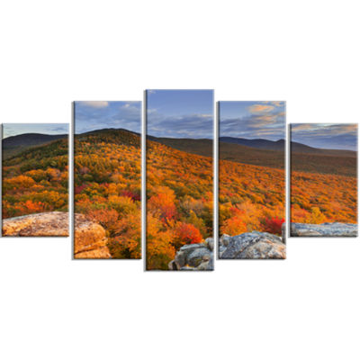 Designart Endless Forests In The Fall Foliage Landscape Wrapped Canvas Art Print - 5 Panels