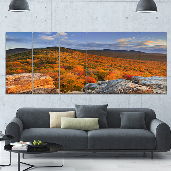 Designart Endless Forests In The Fall Foliage Landscape Canvas Art Print - 6 Panels