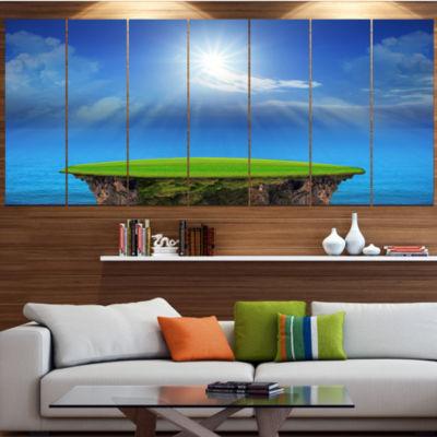 Blue Sky And Sun Shining Landscape Canvas Art Print - 4 Panels