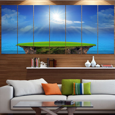 Designart Blue Sky And Sun Shining Landscape Wrapped Canvas Art Print - 5 Panels