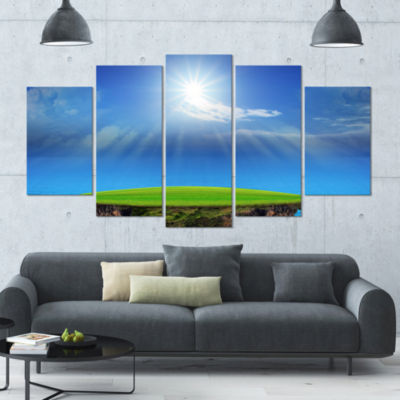 Blue Sky And Sun Shining Landscape Wrapped CanvasArt Print - 5 Panels