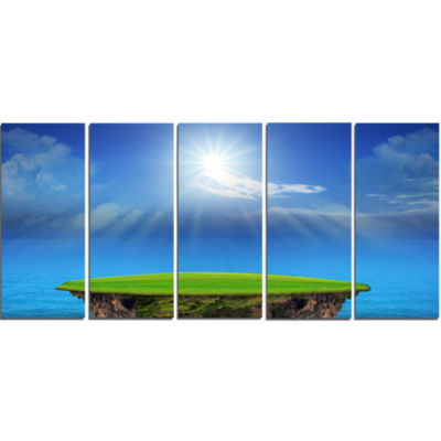 Blue Sky And Sun Shining Landscape Canvas Art Print - 5 Panels