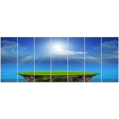 Blue Sky And Sun Shining Landscape Canvas Art Print - 7 Panels