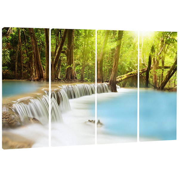 Waterfall of Huai Mae Kamin Landscape Art Print Canvas - 4 Panels