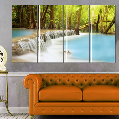 Designart Waterfall of Huai Mae Kamin Landscape Art Print Canvas - 4 Panels