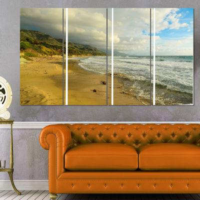 Designart Waves Meet Sand Landscape Photography Canvas Art Print - 4 Panels