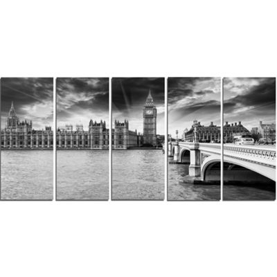 Designart Westminster Palace in Gray Shade Photography Canvas Art Print - 4 Panels