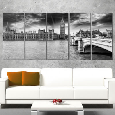 Designart Westminster Palace in Gray Shade Photography Canvas Art Print - 5 Panels