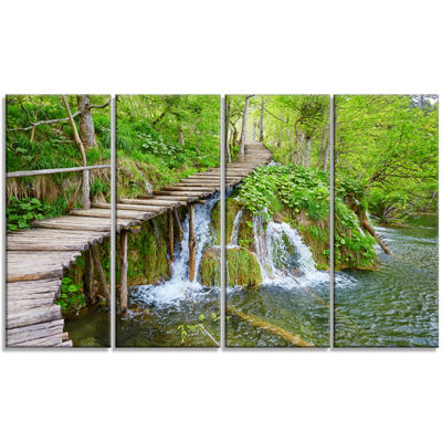 Designart Cascades in Plitvice Lakes Landscape Photography Canvas Art Print - 4 Panels