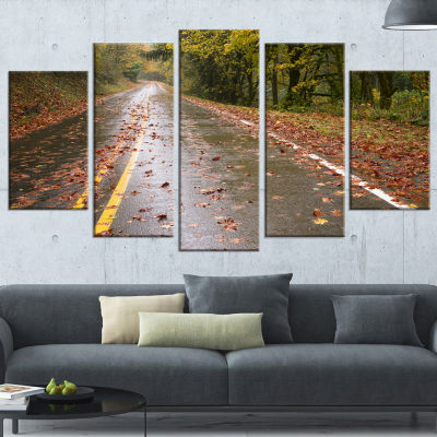 Designart Wet Rainy Road in Forest Landscape PhotoCanvas Art Print - 4 Panels