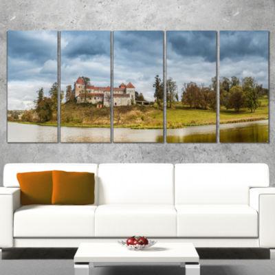 Designart Castle By The Lake Photography LandscapeCanvas Print - 4 Panels