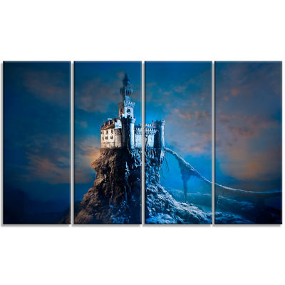 Castle On The Hill Contemporary Canvas Art Print -4 Panels