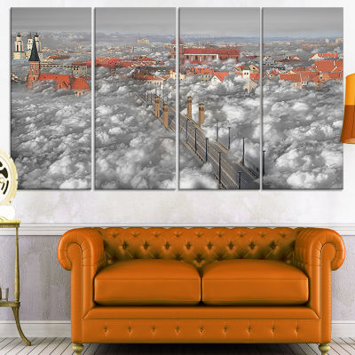 Designart When the Cloud Descends Abstract Print on Canvas -4 Panels