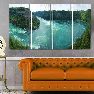 Designart Whirlpool Rapids Landscape Photography Canvas Print - 4 Panels